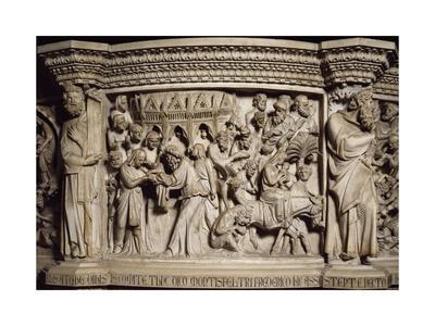 Figures of Prophets Framing Massacre of Innocents, Scene from Life of Christ