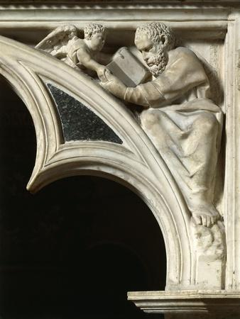 Italy, Tuscany, Pisa, Piazza Dei Miracoli, Cathedral Pulpit with Matthew the Evangelist