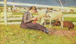 A Girl Knitting, 1888 by Giovanni Segantini