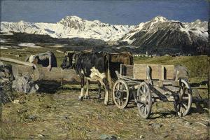 At the Watering Place (Cows in the Yoke), 1888 by Giovanni Segantini