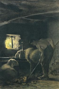 In Stable, 1883-1886 by Giovanni Segantini