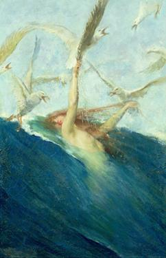Mermaid Being Mobbed by Seagulls by Giovanni Segantini