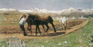 Plowing in the Engadin by Giovanni Segantini