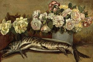Still Life with Flowers and Fish or Pike and Roses, 1882 by Giovanni Segantini