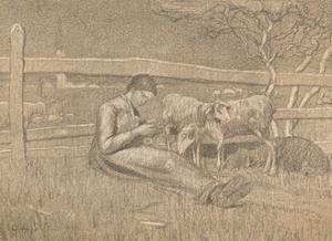 'The Shepherdess', c1888 by Giovanni Segantini