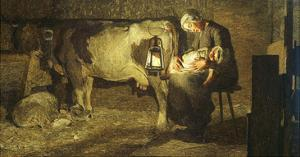 The Two Mothers, Cow with Calf and Sleeping Mother with Baby, 19th Century by Giovanni Segantini