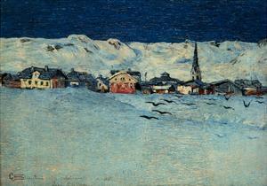 Winter View of Savognino by Giovanni Segantini, 1890. Milan, Italy by Giovanni Segantini