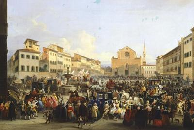 Carnival in the Square of the Holy Cross in Florence