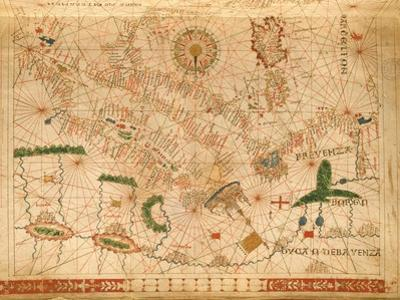 Provence and Italy, from a Nautical Atlas, 1520 (Ink on Vellum) (Detail from 330915)