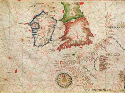 The French Coast, England, Scotland and Ireland, from a Nautical Atlas, 1520 (Detail)