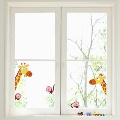 Giraffes and Monkeys Window Decal Sticker