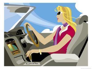 Girl Driving British Car