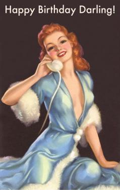 Girl in Fur Robe on Telephone