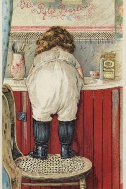 Girl Leaning over Sink Little Mischief