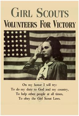 Girl Scouts Volunteers for Victory WWII War Propaganda Art Print Poster