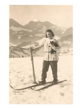 Girl Skiing with Cat