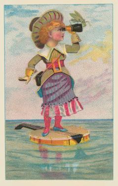 Girl with Binoculars on Floating Banjo