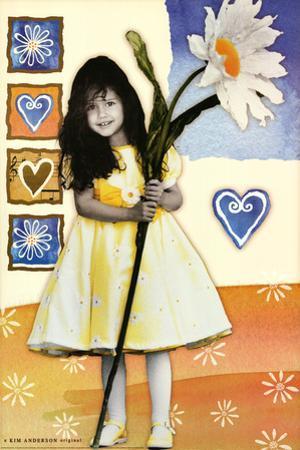 Girl with Huge Sunflower Art Print Poster