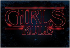 Girls Rule Horizontal Night Blue Marquee