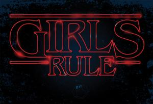 Girls Rule Horizontal Night Blue Marquee