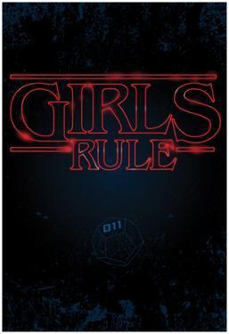 Girls Rule Vertical Night Blue Marquee