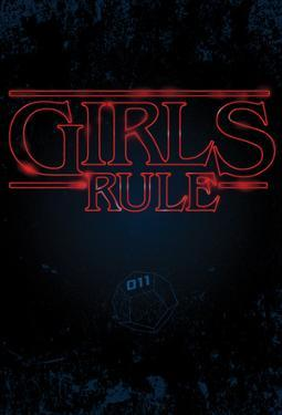 Girls Rule Vertical Night Blue Marquee