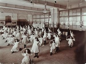 Girls with Hoops, Lavender Hill Girls School, Bermondsey, London, 1906