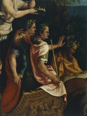 Emperors Titus and Vespasian, Detail from Triumph of Titus and Vespasian, 1537 by Giulio Romano