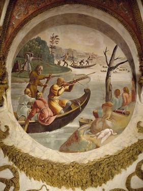 Hunting Waterfowl with Bows and Crossbows, Fresco by Giulio Romano