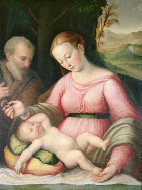 The Holy Family in a Mountainous Landscape by Giulio Romano