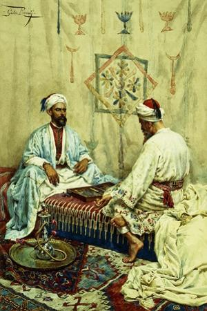 Arabs Playing Backgammon in an Interior by Giulio Rosati