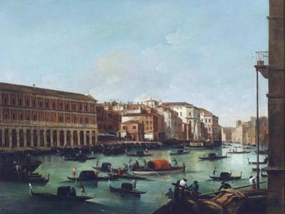 Grand Canal of Venice at the Rialto, with Gondolas by Giuseppe Bernardino Bison