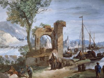 Imaginary View: Port with Ruins and Waterfall by Giuseppe Bernardino Bison