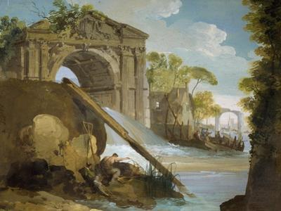 Imaginary View: River with Fishermen and Ruins by Giuseppe Bernardino Bison