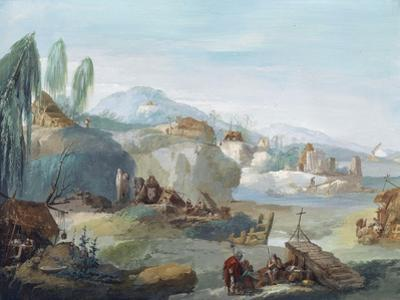 Landscape with Scenes from the Latin Epic Poem the Thebaid by Giuseppe Bernardino Bison