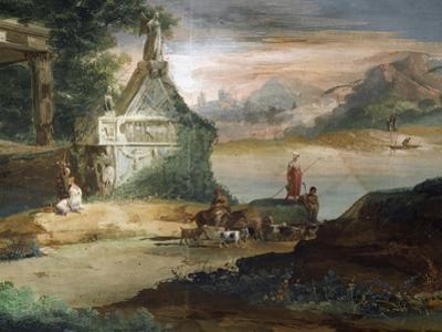 Shepherds in Imaginary Landscape by Giuseppe Bernardino Bison