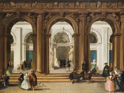 The Entrance to the Biblioteca Marciana, Venice by Giuseppe Bernardino Bison
