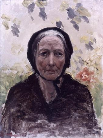 Old Woman (Dressed in Black, with Wisteria)
