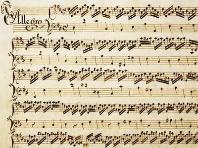 Handwritten Sheet Music for the Sonata Prima for Violin and Bass, Allegro Assai
