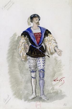 Costume Sketch by Lepic for Role of Duke of Mantua in Premiere of Opera Rigoletto