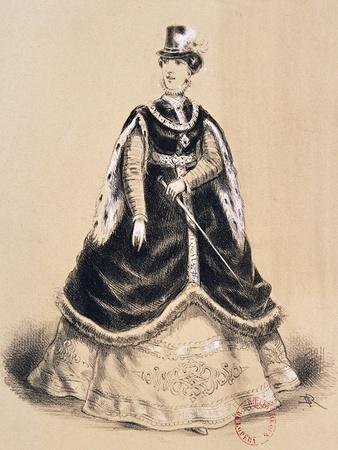Costume Sketch for Role of Elisabetta for Premiere of Opera Don Carlos