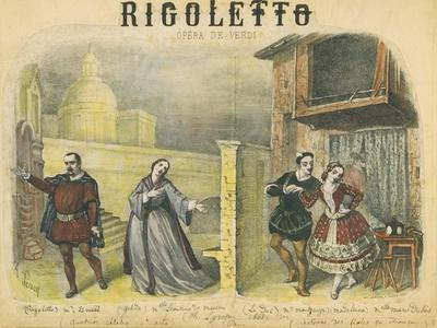 """France, Paris, Lithograph Depicting Final Act of """"Rigoletto"""""""