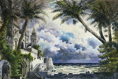 Set Design by Giovanni Zuccarelli Depicting the Outside of the Castle for the First Act