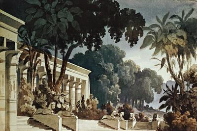Set Design Sketch by Filippo Peroni Depicting the Hanging Gardens for the Third Act