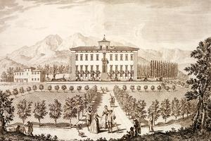 View of the Villa Del Barone, from 'Views of Tuscany' by Giuseppe Bouchard, Published 1744-57 by Giuseppe Zocchi