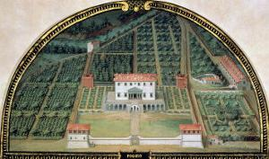 Villa Poggio a Caiano from a Series of Lunettes Depicting Views of the Medici Villas, 1599 by Giusto Utens