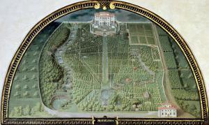 Villa Pratolino from a Series of Lunettes Depicting Views of the Medici Villas, 1599 by Giusto Utens