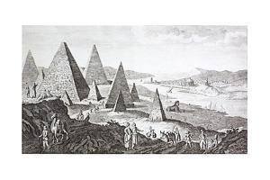Gizeh, the Nile and Pyramids in a Fanciful 18th Century Engraving