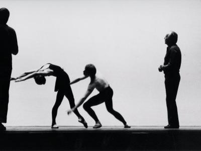 Ballet Master George Balanchine Directing Rehearsal of NYC Ballet Production, Violin Concerto