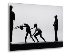 Ballet Master George Balanchine Directing Rehearsal of NYC Ballet Production, Violin Concerto by Gjon Mili